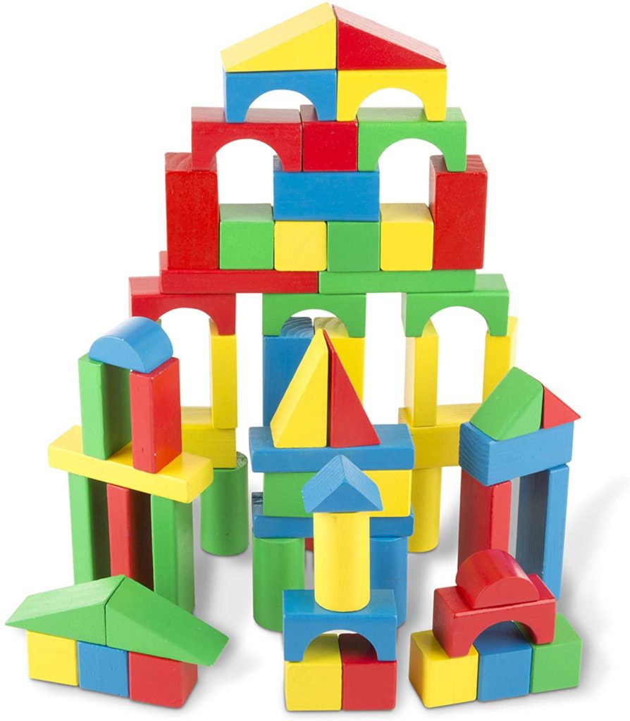The MELISSA & DOUG Wooden Building Blocks Set is one of our favorite toys to buy younger kids.